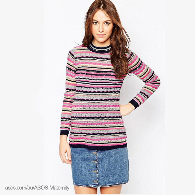 ASOS Retro Maternity Stripe Jumper With Lurex-wintersale