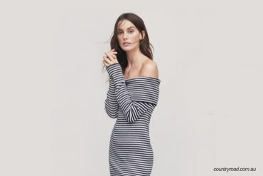 striped Rib Off Shoulder Dress-country road-blog-dearbub.com